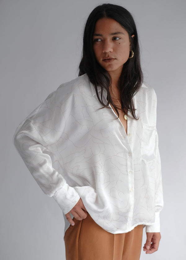 shop ethical sustainable & ethical clothing by OH SEVEN DAYS Monday Marwa White: Illustrated Vegan Silk Boxy Blouse