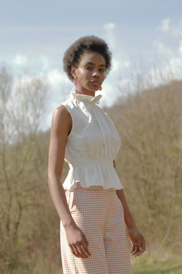 shop ethical sustainable & ethical clothing by OH SEVEN DAYS Monday Ruff Blouse White
