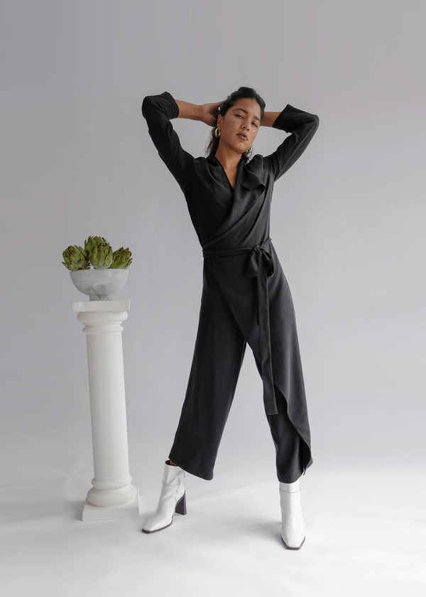 shop ethical sustainable & ethical clothing by OH SEVEN DAYS The Wednesday Onesie: Wrap Long Sleeve Belted Jumpsuit