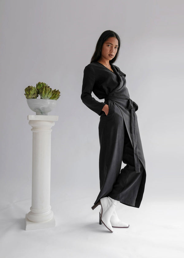The Wednesday Onesie: Wrap Long Sleeve Belted Jumpsuit
