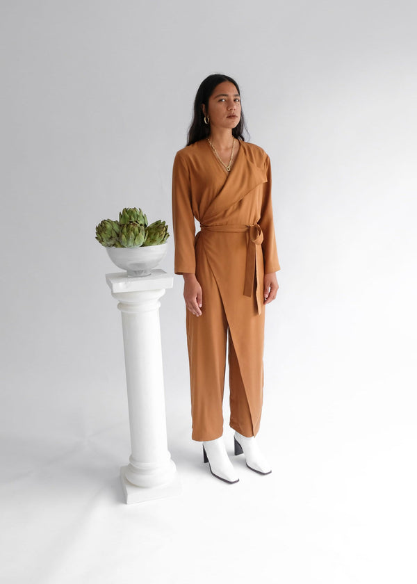 shop ethical sustainable & ethical clothing by OH SEVEN DAYS The Wednesday Onesie Topaz: Wrap Long Sleeve Belted Jumpsuit