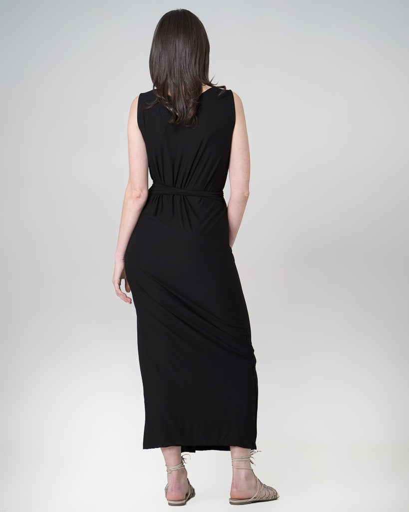 Organic Bamboo Aja Wrap Dress Black-Dresses-Indecisivethelabel-Ethi