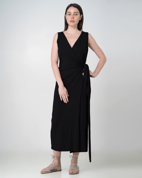 shop ethical sustainable & ethical clothing by INDECISIVE THE LABEL Organic Bamboo Aja Wrap Dress Black