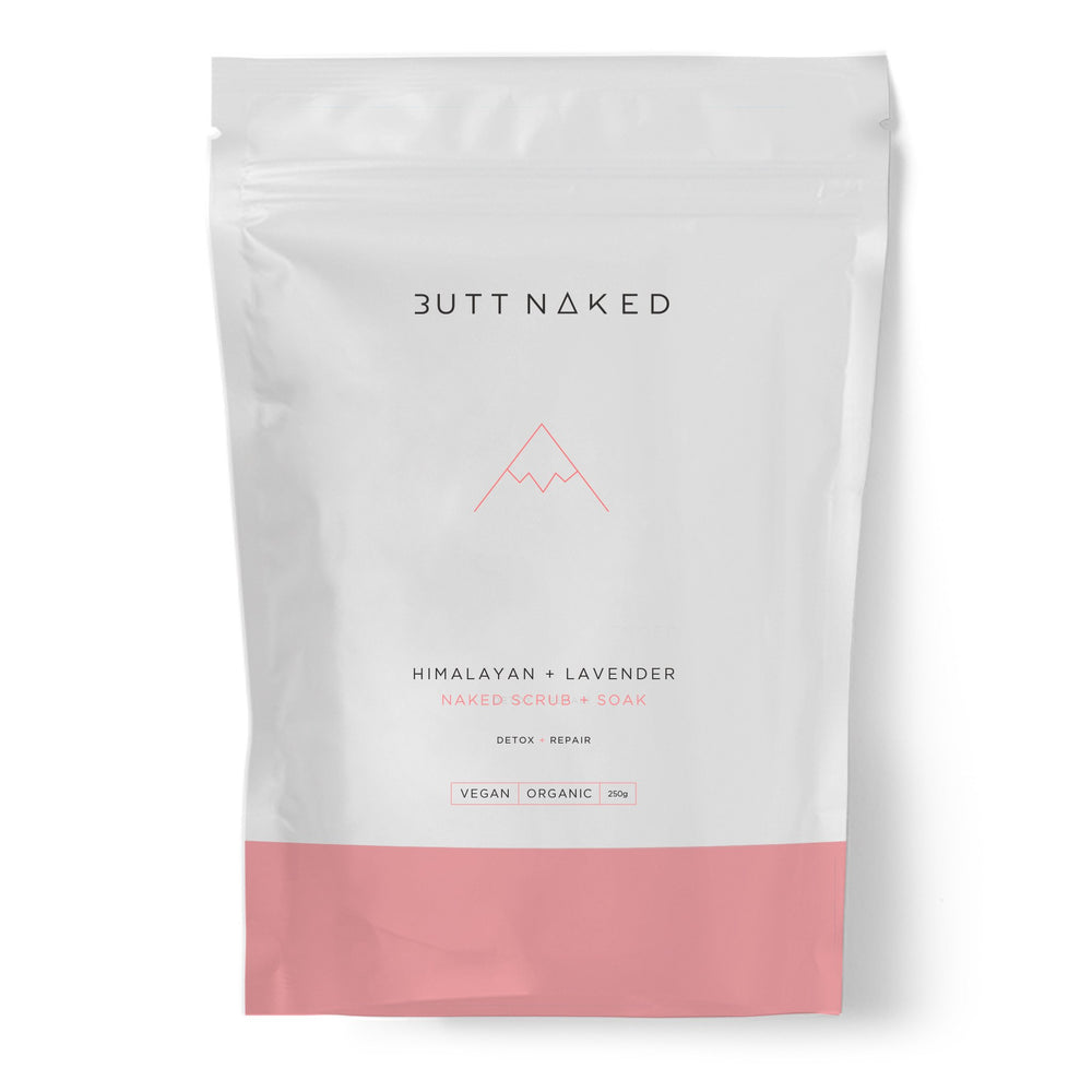 shop ethical sustainable & ethical clothing by BUTT NAKED SKINFOOD Himalayan + Lavender Salt Scrub + Bath Soak 250g