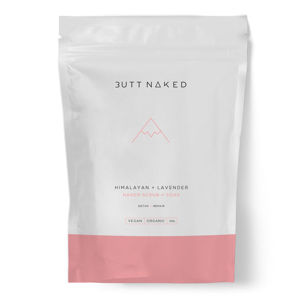 shop ethical sustainable & ethical clothing by Butt Naked Skinfood Himalayan + Lavender Salt Scrub + Bath Soak