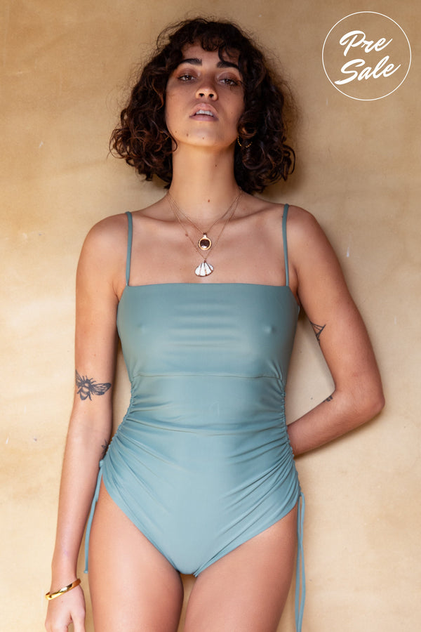 shop ethical sustainable & ethical clothing by The Halcyon Daze Byron Bay Mallorca One Piece - Sage