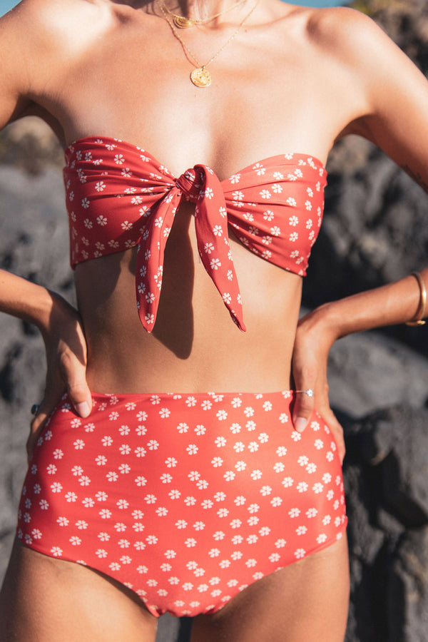 shop ethical sustainable & ethical clothing by The Halcyon Daze Byron Bay Summer Fling - High Waist Bottom - Red Daisy