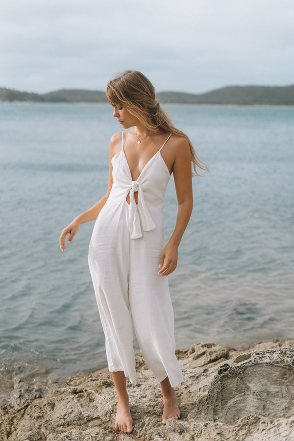 shop ethical sustainable & ethical clothing by The Halcyon Daze Byron Bay Day Dreamers Tie Front Jumpsuit