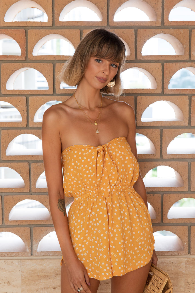 Sail Away With Me Playsuit - Yellow Daisy