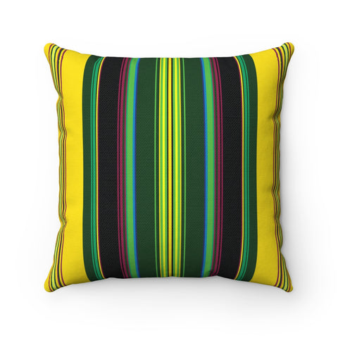 Folk Style Colorful Square Pillow Yellow - I AM POLONIA Polish heritage