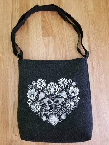 Authentic Polish Felt Bag with Folk Embroidery