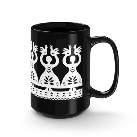 Polish Folk Black Mug 15oz - I AM POLONIA
