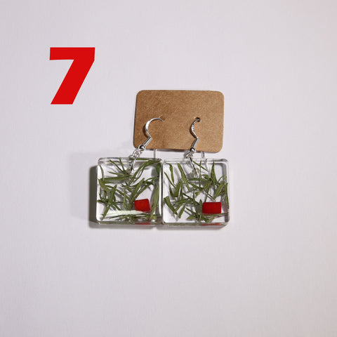 7. Silver earrings with Polish wild plants