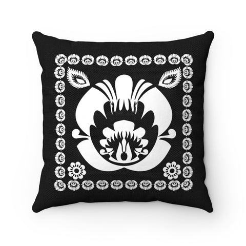 Lowicz Style Black and White Square Pillow no. 2 - I AM POLONIA