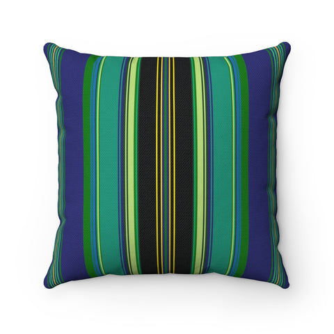 Folk Style Colorful Square Pillow Blue - I AM POLONIA