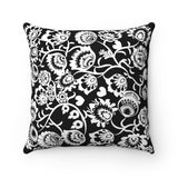 Lowicz Style Black and White Square Pillow - I AM POLONIA