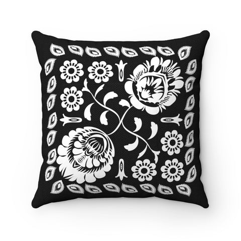 Lowicz Style Black and White Square Pillow no. 3 - I AM POLONIA
