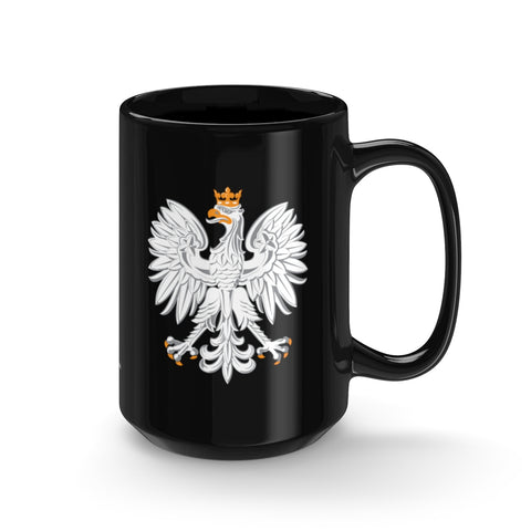 Polish National Emblem Black Mug 15oz - I AM POLONIA Polish heritage