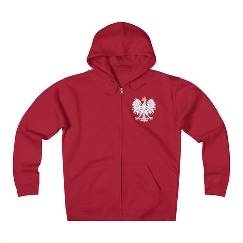 White Eagle Unisex Heavyweight Fleece Zip Hoodie - I AM POLONIA Polish heritage