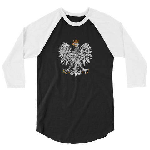 White Eagle 3/4 sleeve mens raglan shirt - I AM POLONIA Polish heritage