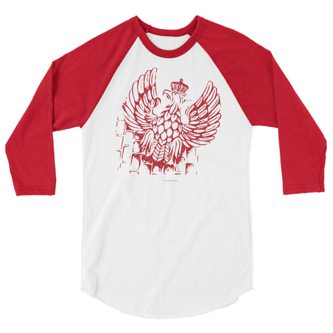 Polish eagle 3/4 sleeve raglan shirt - I AM POLONIA Polish heritage
