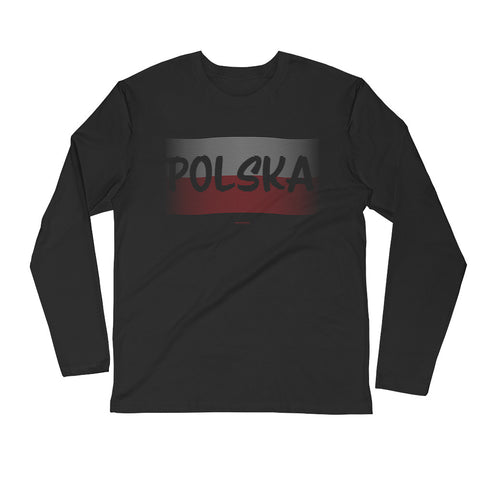 Polish Flag with Polska Long Sleeve Fitted Crew - I AM POLONIA Polish heritage