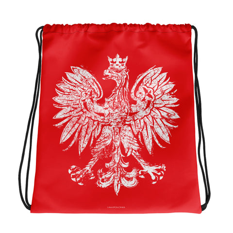 Vintage White Eagle Drawstring bag - I AM POLONIA Polish heritage