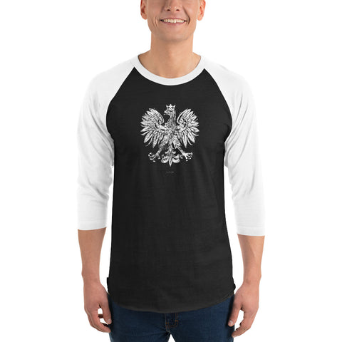 White Eagle Grunge 3/4 sleeve raglan shirt - I AM POLONIA Polish heritage