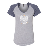 Polish Eagle Women's Triblend Colorblock V-Neck Raglan Tee - I AM POLONIA Polish heritage