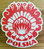 Polish flower wycinanki sticker - I AM POLONIA Polish heritage