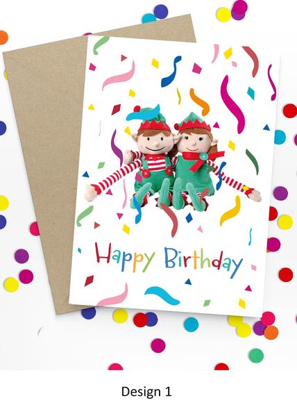 Happy Birthday Elf Personalized Card From Boy And Girl