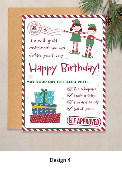 Happy Birthday Elf Personalized Card From Boy