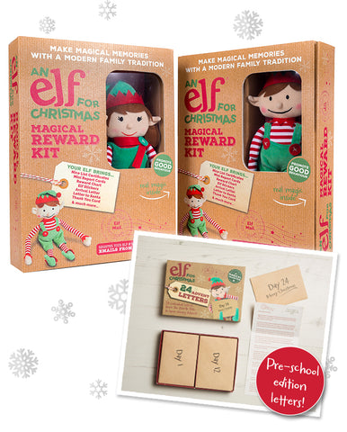 Christmas Elf Toy & Magical Reward Kit and Pre-School Edition Advent Letter Set Bundle