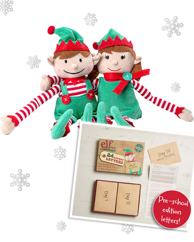 Christmas Elf Toy only & Pre-School Edition Advent Letter Set Bundle