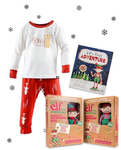 Children's Christmas Pyjamas & Christmas Elf Toy & Elf's First Adventure book bundle