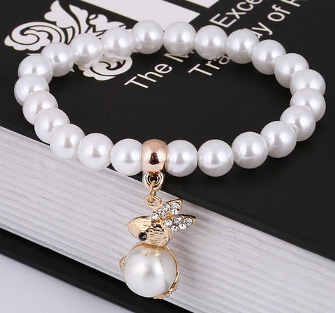 Pearl Bracelet with Bunny Rabbit Charm