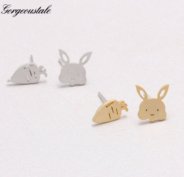 Bunny and Carrot Stud Rabbit Earrings
