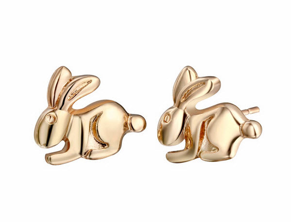 Cute Bunny Stud Earrings – Smooth Plated Design