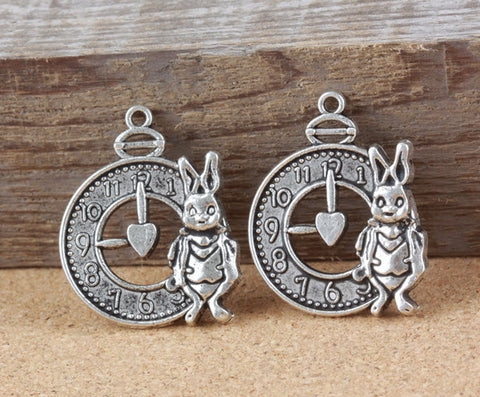 Vintage Alice in Wonderland White Rabbit Charm