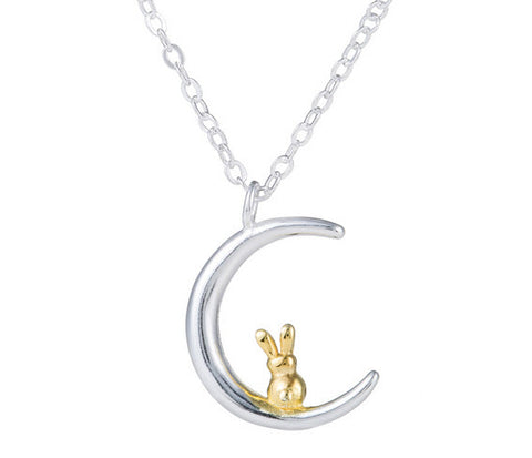 Bunny and Moon Pendant Necklace