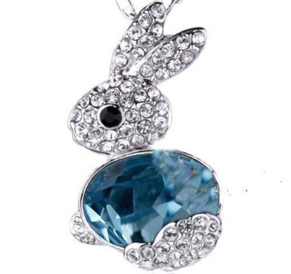 Bunny Rabbit Necklace Pendant Beautiful Crystal Design