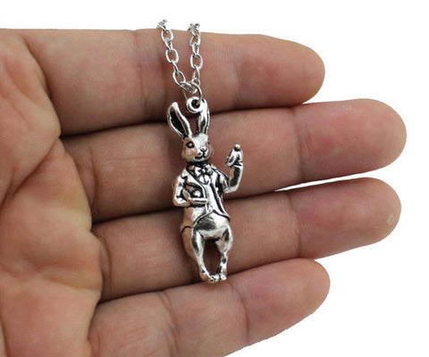 Rabbit in a Tux Retro Pendant Necklace