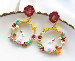 Flower Bunny Rabbit Earrings Wreath Design