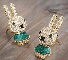 Rhinestone Stud Bunny Rabbit Earrings