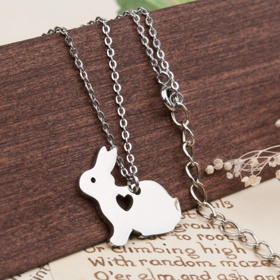 White Bunny Necklace with Heart