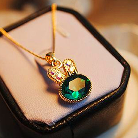 Sapphire Green Crystal Rabbit Pendant Necklace