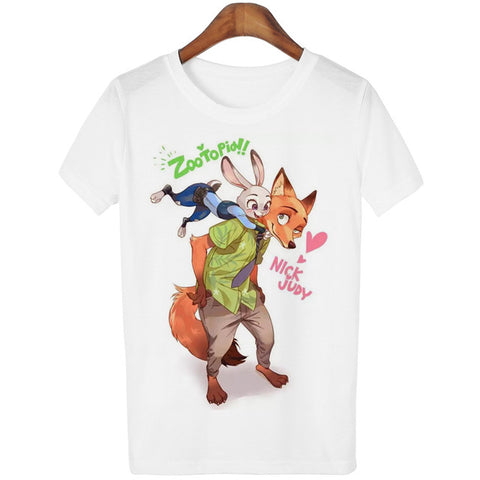 Zootopia Rabbit & Fox Print Casual White T-Shirt
