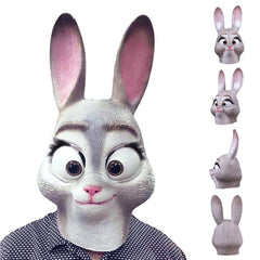 Judy Rabbit Latex Full Head Mask for Adults