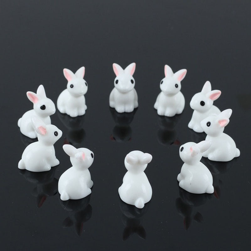 Miniature White Rabbits with Pink Ears 10 Set