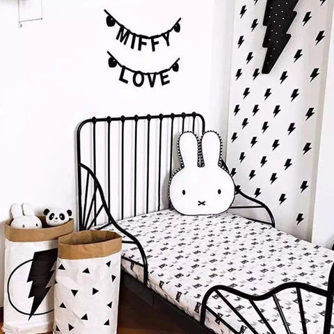 Black & White Bunny Cushion Pillow